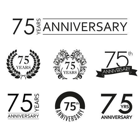75 years anniversary icon set. 75th anniversary celebration logo. Design elements for birthday, invitation, wedding jubilee. Vector illustration.  イラスト・ベクター素材