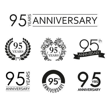 95 years anniversary icon set. 95th anniversary celebration logo. Design elements for birthday, invitation, wedding jubilee. Vector illustration.  イラスト・ベクター素材