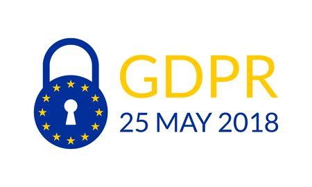 GDPR banner. General Data Protection Regulation symbol with EU flag and padlock. Vector illustration.
