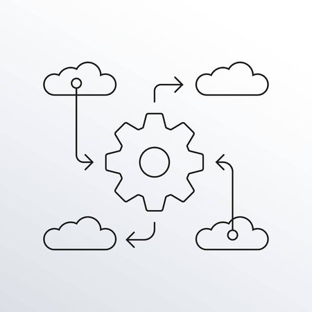 Big data, Information technology, Data Sync line icon. Cloud with arrows and gear or cog. Vector illustration.