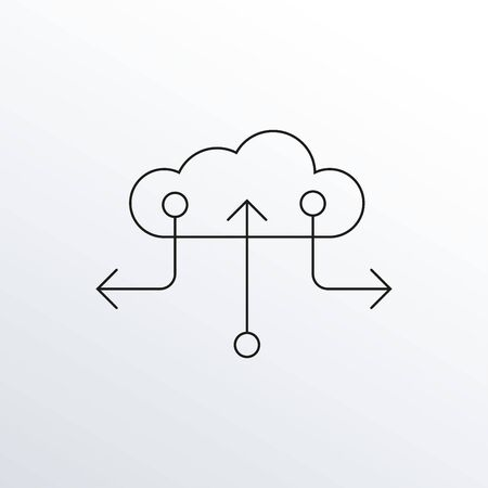 Cloud data line icon with arrows. Information technology outline symbol. Vector illustration.