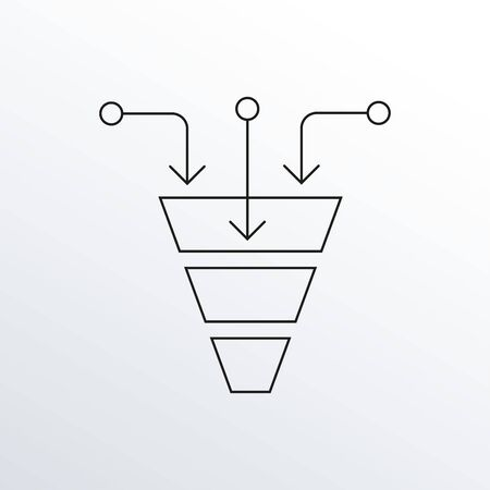 Funnel line icon. Cone with arrows. Sales and marketing design element. Vector illustration.