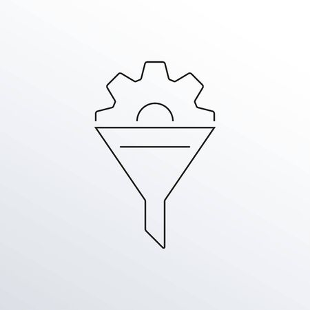 Funnel with gear line icon. Cone with cog outline symbol. Data Filter, Business Conversion, Sales and marketing design element. Vector illustration.  イラスト・ベクター素材