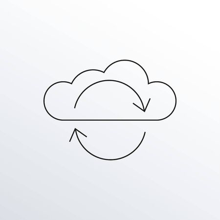 Cloud with arrows line icon. Data Sync, Information technology outline symbol. Vector illustration.
