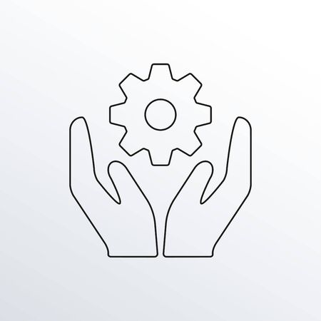 Hands with gear or cogs line icon. Installation, technology and support outline sign. Vector illustration.  イラスト・ベクター素材