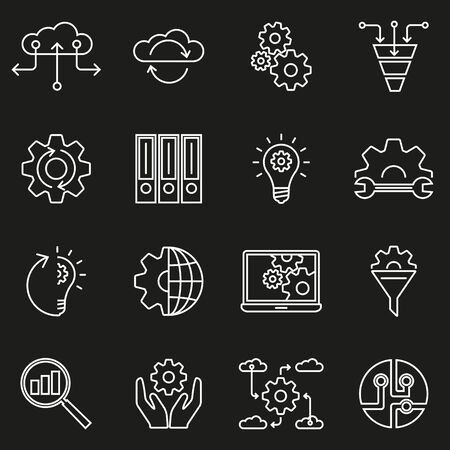 Data line icon set. Business, analysis, information technology collection. Data exchange outline symbols. Vector illustration.  イラスト・ベクター素材
