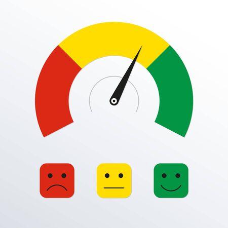 Emotions scale or gauge. Customer satisfaction meter. Client feedback. Vector illustration.  イラスト・ベクター素材