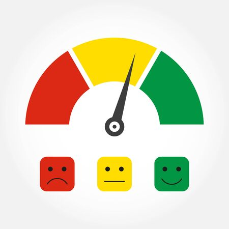 Emotions scale or gauge icon. Customer satisfaction meter. Client feedback infographic element. Vector illustration.