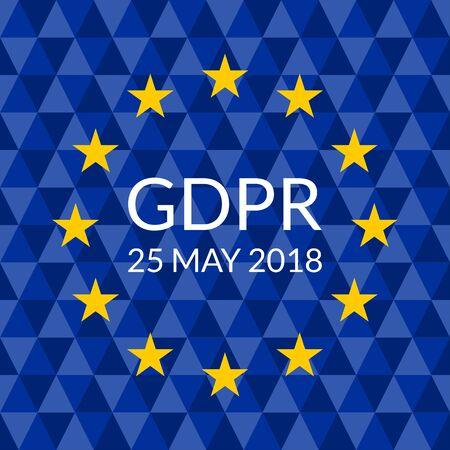 GDPR banner. General Data Protection Regulation symbol with EU flag. Vector illustration.  イラスト・ベクター素材