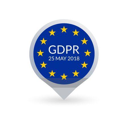 GDPR marker. General Data Protection Regulation map pointer with EU flag. Vector illustration.