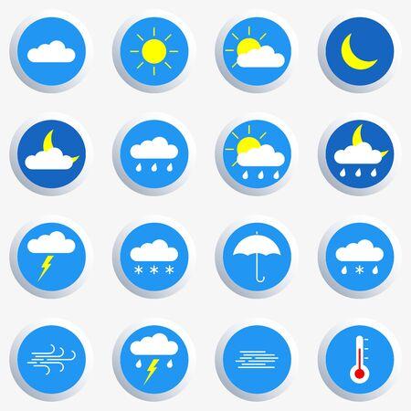 Weather icon set. Colorful weather forecast symbols: clouds, sun, moon, rain. Vector illustration.
