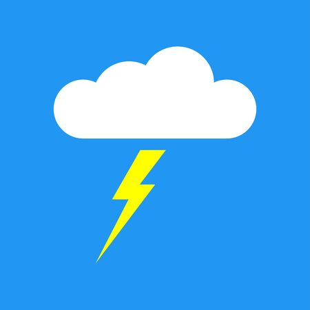 Cloud with lightning bolt or thunder icon. Vector illustration.