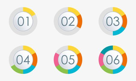 Pie chart with 6 slice, section or levels. Circle infographics concept with 1, 2,3,4,5,6 steps. Vector illustration.  イラスト・ベクター素材