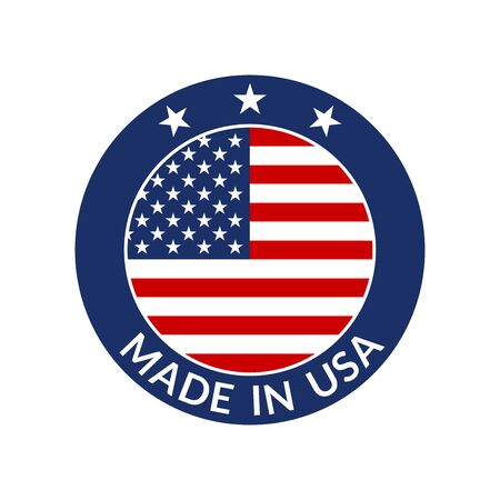 Made in USA label. Circle US icon with American flag. Vector illustration.  イラスト・ベクター素材