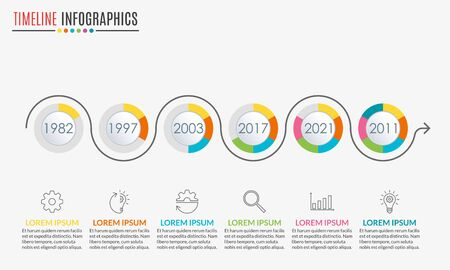 Timeline infographics template with 6 circles and arrow. 6 steps, options, levels or processes. Business presentation concept. Workflow layout, diagram for web design. Vector illustration. Ilustração