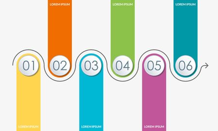 Timeline infographics template with 6 circles and arrow. 6 steps, options, levels or processes. Business presentation concept. Workflow layout, diagram for web design. Vector illustration. Vectores