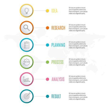 Conception infographique en 6 étapes. Modèle de diagramme, graphique et graphique. Conception de la chronologie avec 6 niveaux, options, cercles. Concept de présentation d'entreprise. Illustration vectorielle.