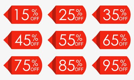 Sale price tag set. Red discount icons or stickers. 15,25,35,45,55,65,75,85,95 percent off. Vector illustration. 向量圖像