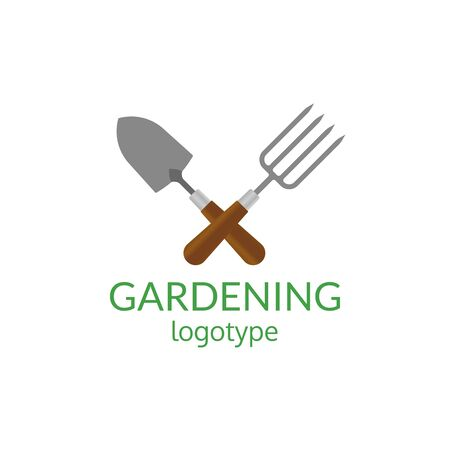 Gardening logo. Garden tools icon. Crossed trowel spade and garden fork. Farming and agriculture symbol. Vector illustration.