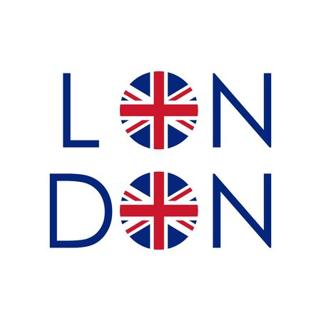 London typography design with circle UK flag. London banner, poster, sport t-shirt print design and apparels graphic. Vector illustration. Stock Illustratie