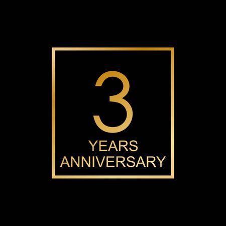3rd anniversary celebration label. Design element or banner for birthday, invitation, wedding jubilee. Vector illustration. Vettoriali