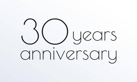 30 years anniversary icon. 30th celebrating. Design element or banner for birthday, invitation, wedding jubilee. Vector illustration. Ilustração