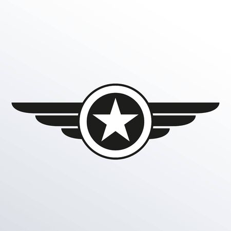 Wings with star icon. Winged logo template.  Air force badge, army, military and aviation emblem. Vector illustration. 矢量图像