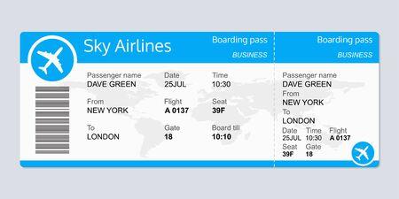 Modèle de billet d'avion. Billet de vol d'avion vierge. Carte d'embarquement. Illustration vectorielle.