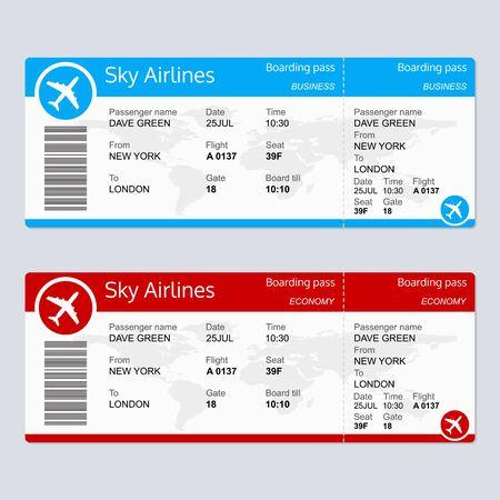 Plantilla de billete de avión. Billete de avión en blanco. Tarjeta de embarque. Ilustración vectorial.
