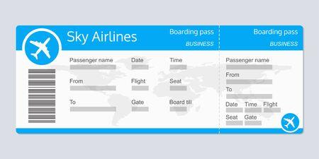 Modèle de billet d'avion. Billet de vol d'avion vierge réaliste. Carte d'embarquement. Illustration vectorielle. Vecteurs