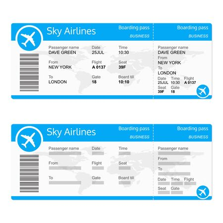 Plane ticket template. Airplane flight ticket realistic blank. Boarding pass. Vector illustration. Vetores