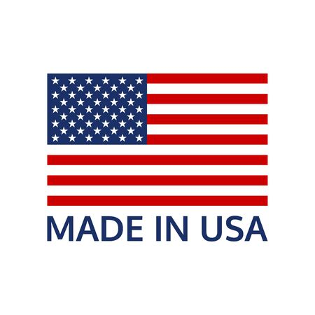 Made in USA or label with US flag. America manufactured icon. Vector illustration. Vector Illustration