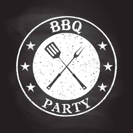 BBQ party grunge stamp isolated on blackboard texture with chalk rubbed background. Barbecue icon or logo with fork and spatula. Vector illustration. Illustration