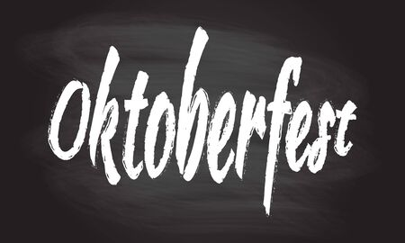 Oktoberfest banner isolated on blackboard texture with chalk rubbed background. Beer festival lettering typography. Oktoberfest flyer, sticker design element. Vector illustration.