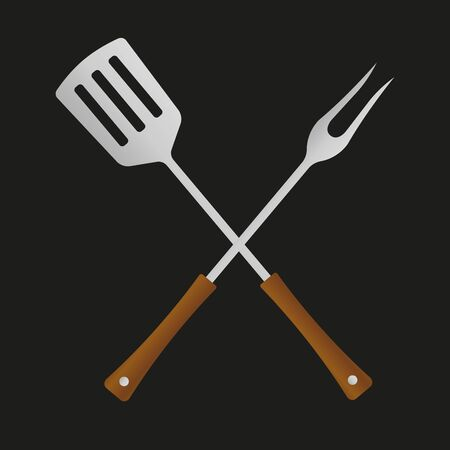 BBQ and grill tools icon. Barbecue utensil. Crossed spatula with fork. Vector illustration.