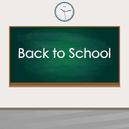 Back to school banner. School blackboard in the classroom. Green chalkboard on the wall in the class. Vector illustration.