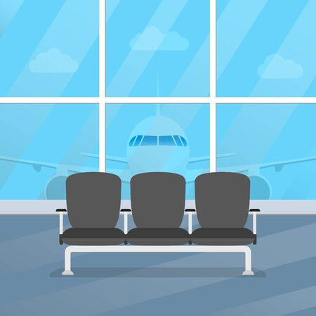Airport waiting room. Departure lounge interior with chairs and airplane in the window. Airport terminal hall. Vector illustration.