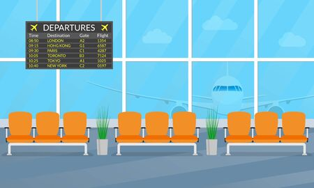 Airport waiting hall. Departure lounge interior with chairs and airplane in the window. Airport terminal with departure board. Vector illustration.