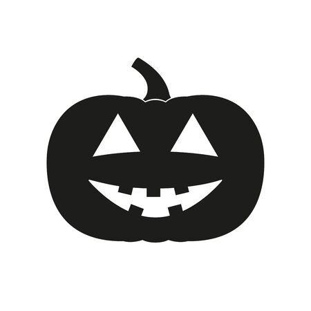 Halloween pumpkin icon with smile face. Vector illustration.