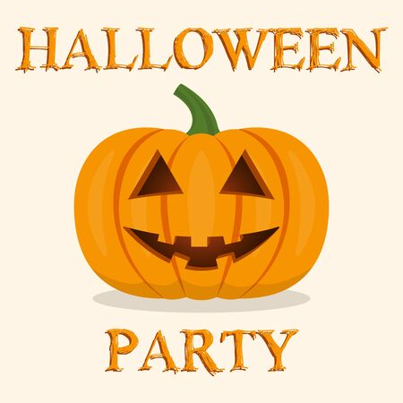 Halloween party banner with pumpkin. Vector illustration.