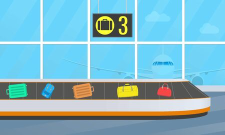 Airport conveyor belt for luggage. Baggage carousel. Airport terminal with suitcases and bags. Vector illustration.