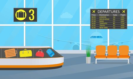Airport terminal interior with chairs, departure board and conveyor belt for luggage or baggage carousel. Vector illustration.