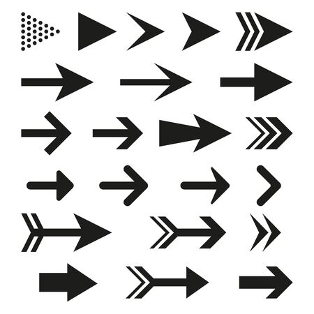 Arrow icon set for website. Different arrows collection. Vector illustration.