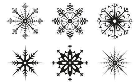 Snowflake icon set. Snow flake silhouettes isolated on white background. Winter and Christmas symbol. Vector illustration. Ilustração