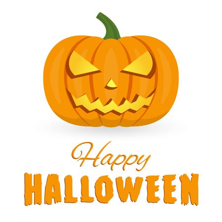 Happy Halloween. Pumpkin with scary face isolated on white background. Halloween banner, poster, flyer or invitation card. Vector illustration.