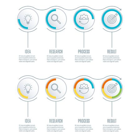 Timeline infographics set with 4 steps, options or section. Business process concept. Diagram, chart, flowchart template with 4 circles. Vector illustration.