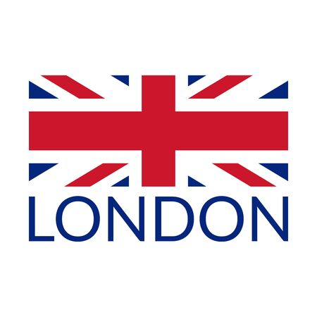London typography design with UK flag