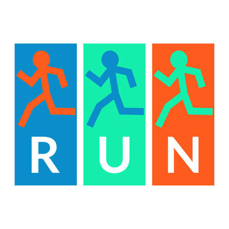 Run poster with running peoples icon. Running and Jogging logo. Vector illustration.