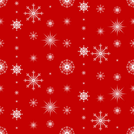 Snowflake seamless pattern. Christmas and winter background. Xmas print. Vector illustration. Ilustracje wektorowe