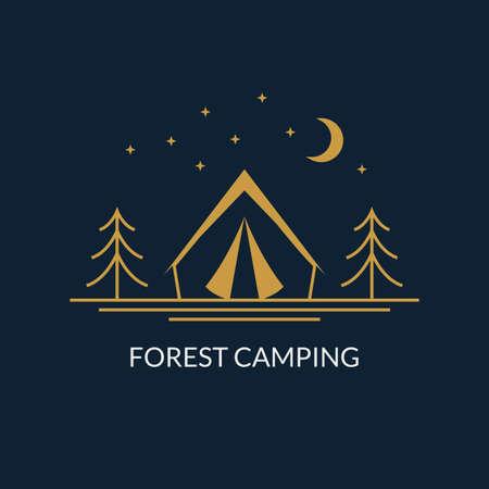 Camp logo. Forest camping emblem with tourist tent. Vector illustration. Ilustração
